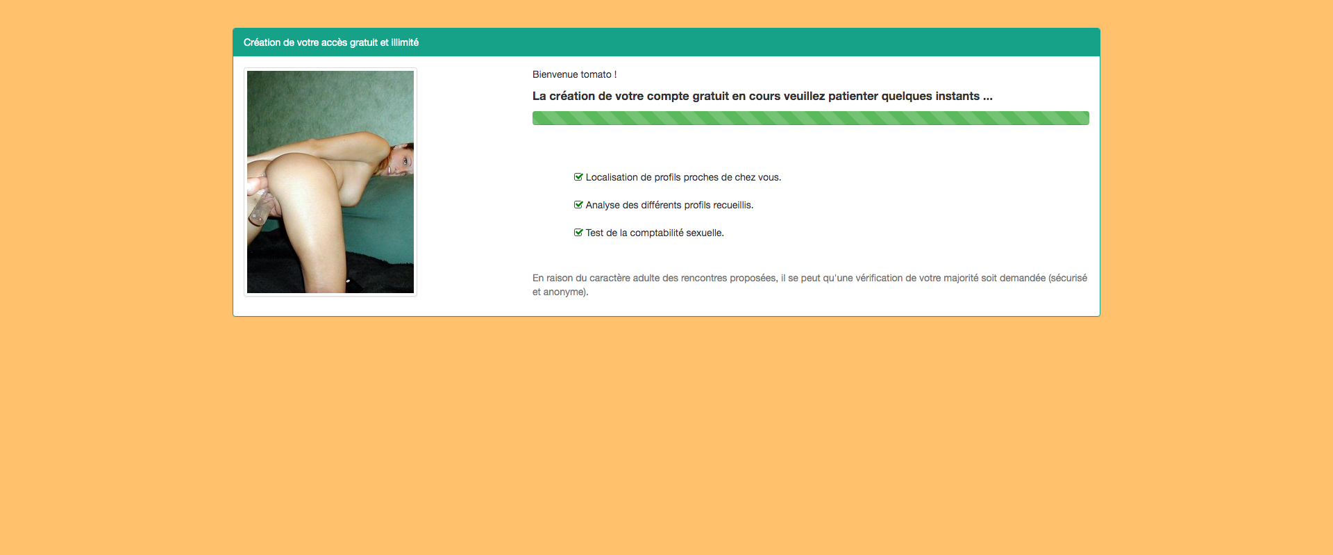 Inscription au chat webcam Etape 2
